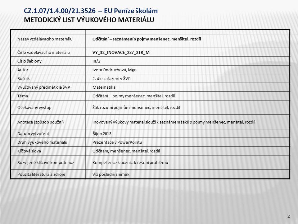 Název vzdělávacího materiáluOdčítání – seznámení s pojmy menšenec, menšitel, rozdíl Číslo vzdělávacího materiáluVY_32_INOVACE_287_2TR_M Číslo šablonyI