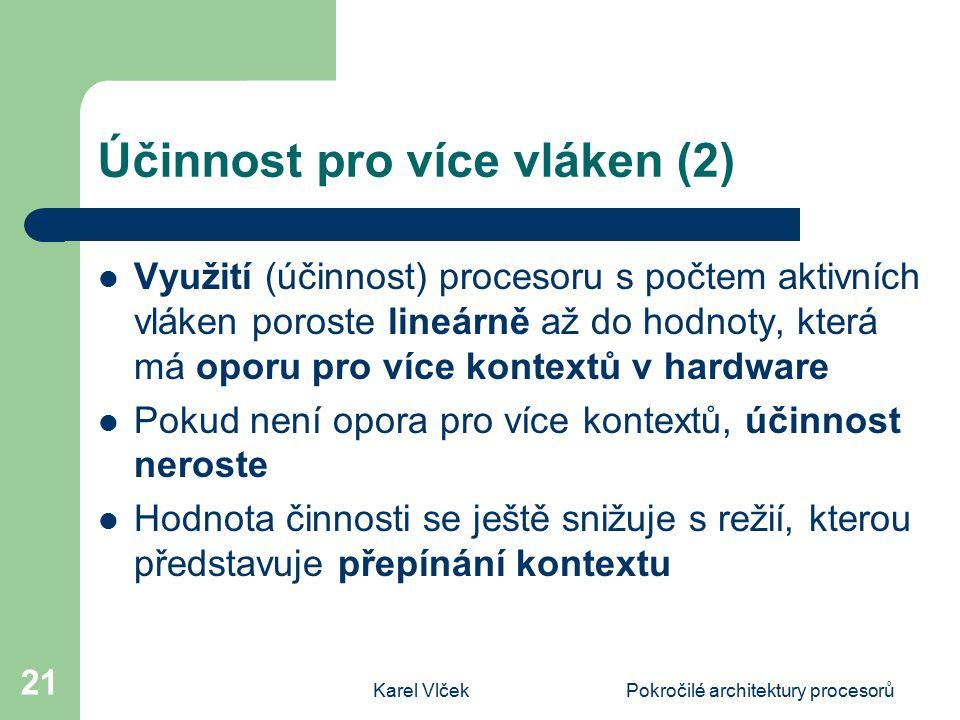 Karel VlčekPokročilé architektury procesorů 21 Účinnost pro více vláken (2) Využití (účinnost) procesoru s počtem aktivních vláken poroste lineárně až