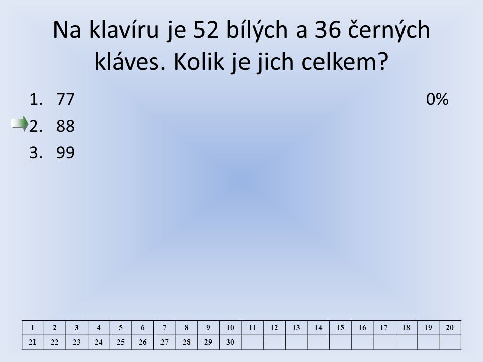 Na klavíru je 52 bílých a 36 černých kláves. Kolik je jich celkem.