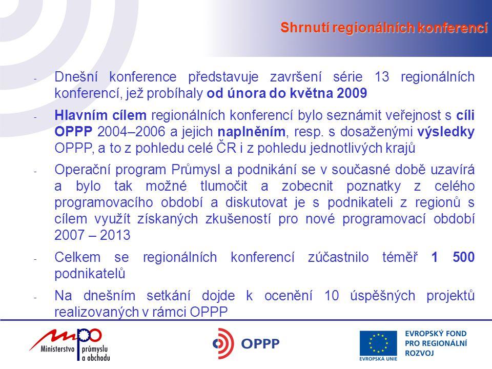 Shrnutí regionálních konferencí - Dnešní konference představuje završení série 13 regionálních konferencí, jež probíhaly od února do května 2009 - Hlavním cílem regionálních konferencí bylo seznámit veřejnost s cíli OPPP 2004–2006 a jejich naplněním, resp.