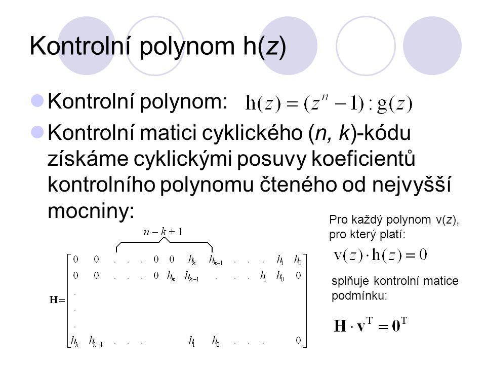 Realizace cyklických kódů systematické kódování:  kódové slovo čteme pozpátku (neboli polynomy zapisujeme od nejvyšší mocniny, tedy opačně než jsme je zapisovali dosud).