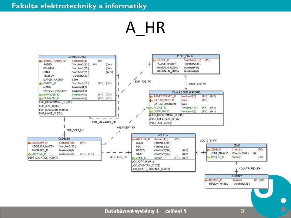 A_HR Databázové systémy 1 – cvičení 5 3