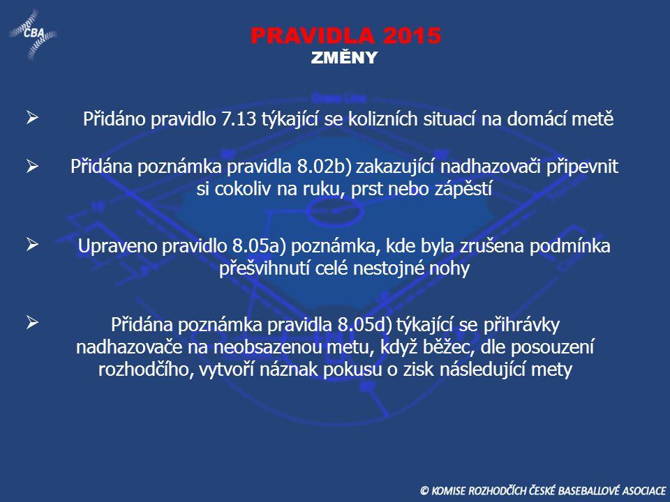PRAVIDLA 2015 ZMĚNY Přidáno pravidlo 7.13 týkající se kolizních situací na domácí metě Přidána poznámka pravidla 8.02b) zakazující nadhazovači připevn