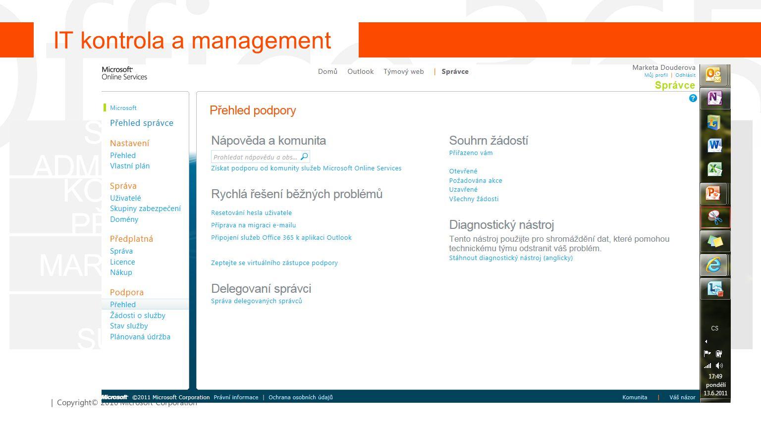 | Copyright© 2010 Microsoft Corporation SNADNÁ ADMINISTRACE KONTROLA PŘÍSTUPŮ MARKETPLACE 24/7 IT SUPPORT IT kontrola a management