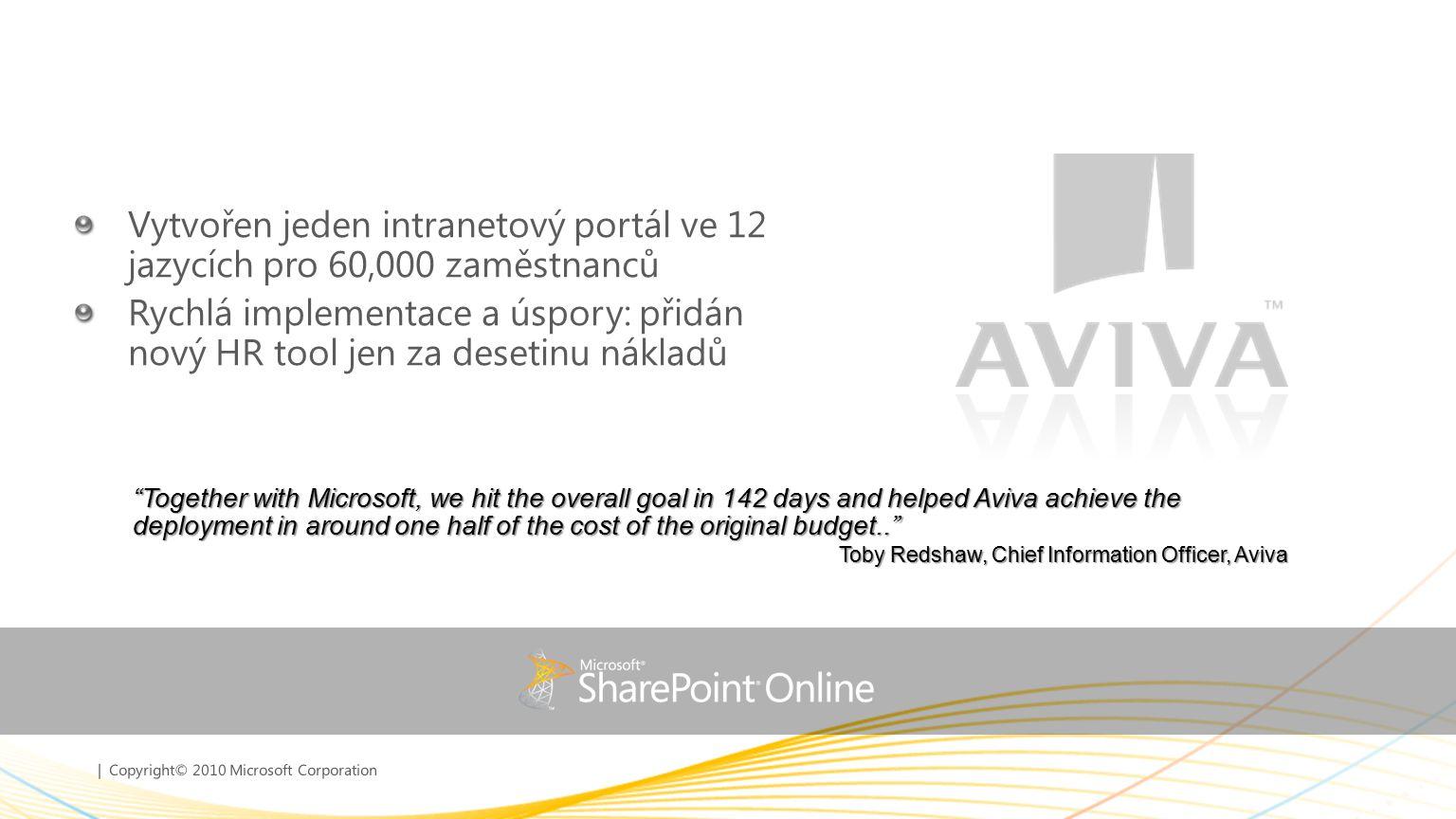 | Copyright© 2010 Microsoft Corporation Vytvořen jeden intranetový portál ve 12 jazycích pro 60,000 zaměstnanců Rychlá implementace a úspory: přidán n