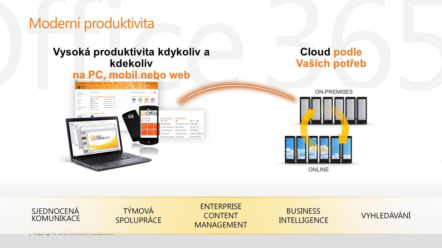 SJEDNOCENÁ KOMUNIKACE TÝMOVÁ SPOLUPRÁCE ENTERPRISE CONTENT MANAGEMENT VYHLEDÁVÁNÍ Vysoká produktivita kdykoliv a kdekoliv na PC, mobil nebo web Cloud
