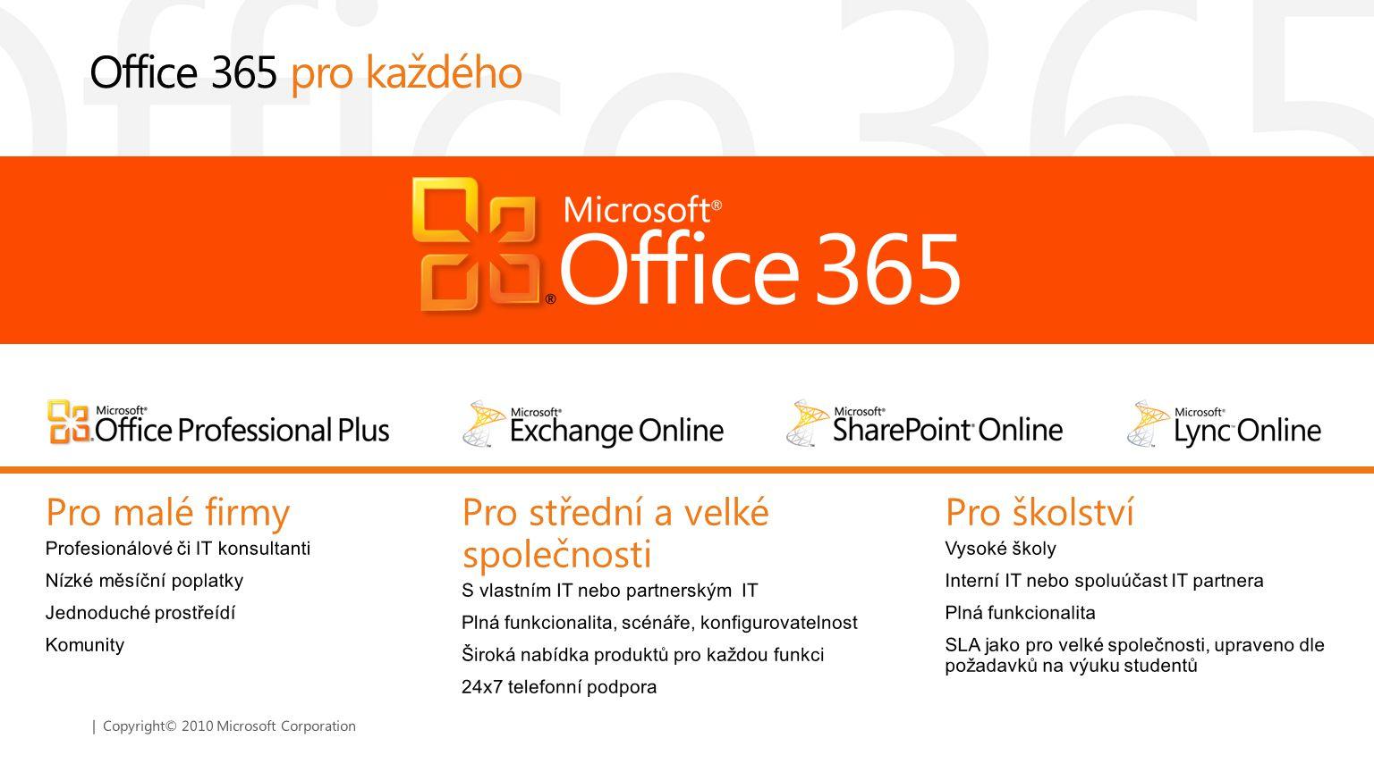 | Copyright© 2010 Microsoft Corporation Office 365 pro každého Pro školství Vysoké školy Interní IT nebo spoluúčast IT partnera Plná funkcionalita SLA