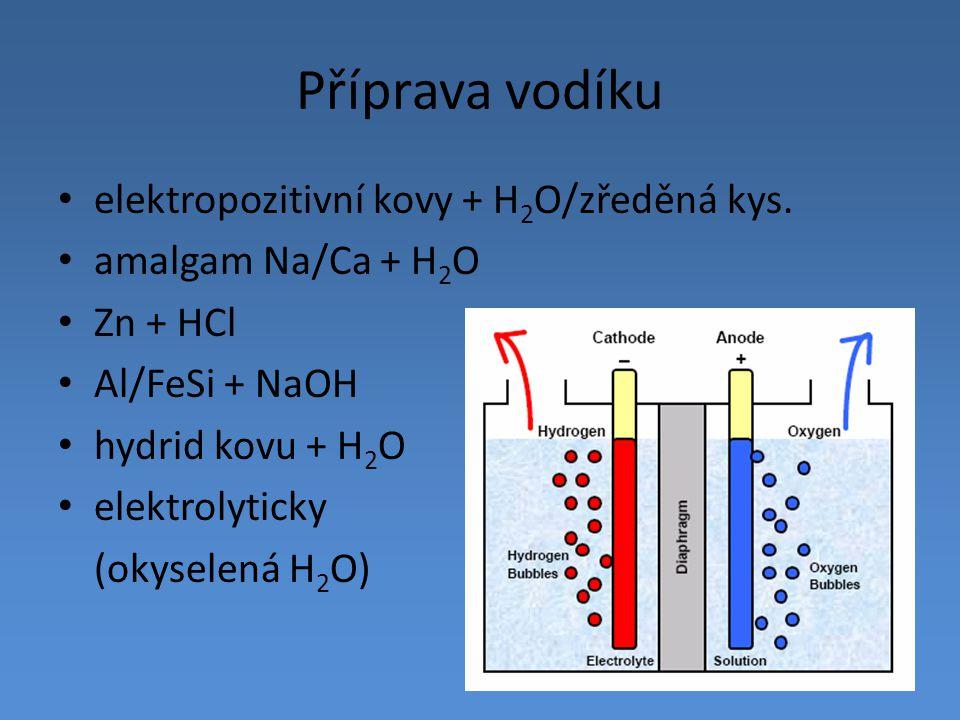Příprava vodíku elektropozitivní kovy + H 2 O/zředěná kys. amalgam Na/Ca + H 2 O Zn + HCl Al/FeSi + NaOH hydrid kovu + H 2 O elektrolyticky (okyselená