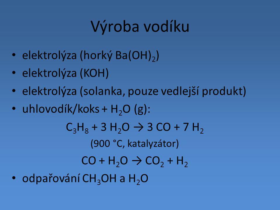 Výroba vodíku elektrolýza (horký Ba(OH) 2 ) elektrolýza (KOH) elektrolýza (solanka, pouze vedlejší produkt) uhlovodík/koks + H 2 O (g): C 3 H 8 + 3 H
