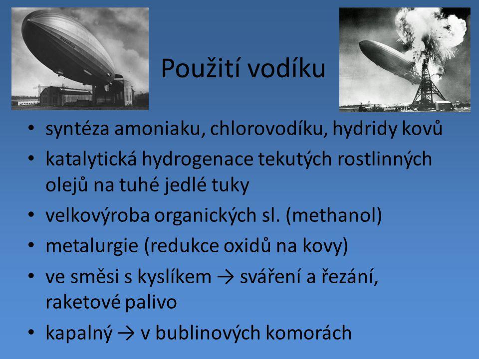 Použití vodíku syntéza amoniaku, chlorovodíku, hydridy kovů katalytická hydrogenace tekutých rostlinných olejů na tuhé jedlé tuky velkovýroba organick