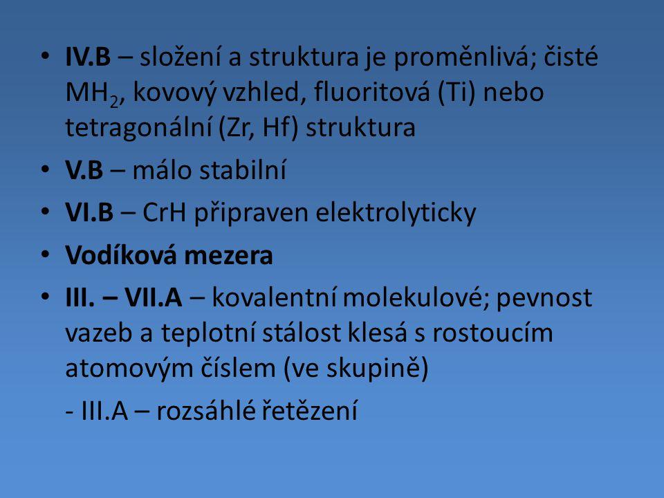 IV.B – složení a struktura je proměnlivá; čisté MH 2, kovový vzhled, fluoritová (Ti) nebo tetragonální (Zr, Hf) struktura V.B – málo stabilní VI.B – C