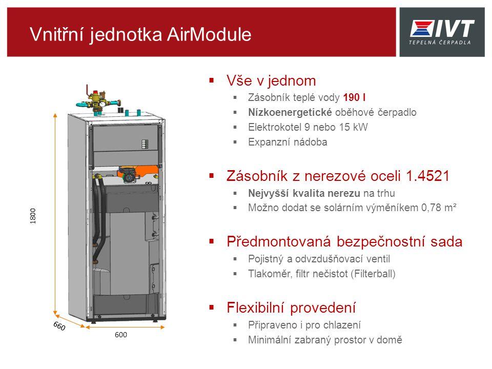 Vnitřní jednotka AirModule  Vše v jednom  Zásobník teplé vody 190 l  Nízkoenergetické oběhové čerpadlo  Elektrokotel 9 nebo 15 kW  Expanzní nádoba  Zásobník z nerezové oceli 1.4521  Nejvyšší kvalita nerezu na trhu  Možno dodat se solárním výměníkem 0,78 m²  Předmontovaná bezpečnostní sada  Pojistný a odvzdušňovací ventil  Tlakoměr, filtr nečistot (Filterball)  Flexibilní provedení  Připraveno i pro chlazení  Minimální zabraný prostor v domě 1800 660 600