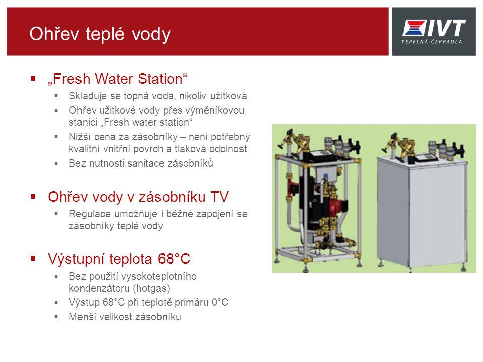 """Ohřev teplé vody  """"Fresh Water Station  Skladuje se topná voda, nikoliv užitková  Ohřev užitkové vody přes výměníkovou stanici """"Fresh water station  Nižší cena za zásobníky – není potřebný kvalitní vnitřní povrch a tlaková odolnost  Bez nutnosti sanitace zásobníků  Ohřev vody v zásobníku TV  Regulace umožňuje i běžné zapojení se zásobníky teplé vody  Výstupní teplota 68°C  Bez použití vysokoteplotního kondenzátoru (hotgas)  Výstup 68°C při teplotě primáru 0°C  Menší velikost zásobníků"""