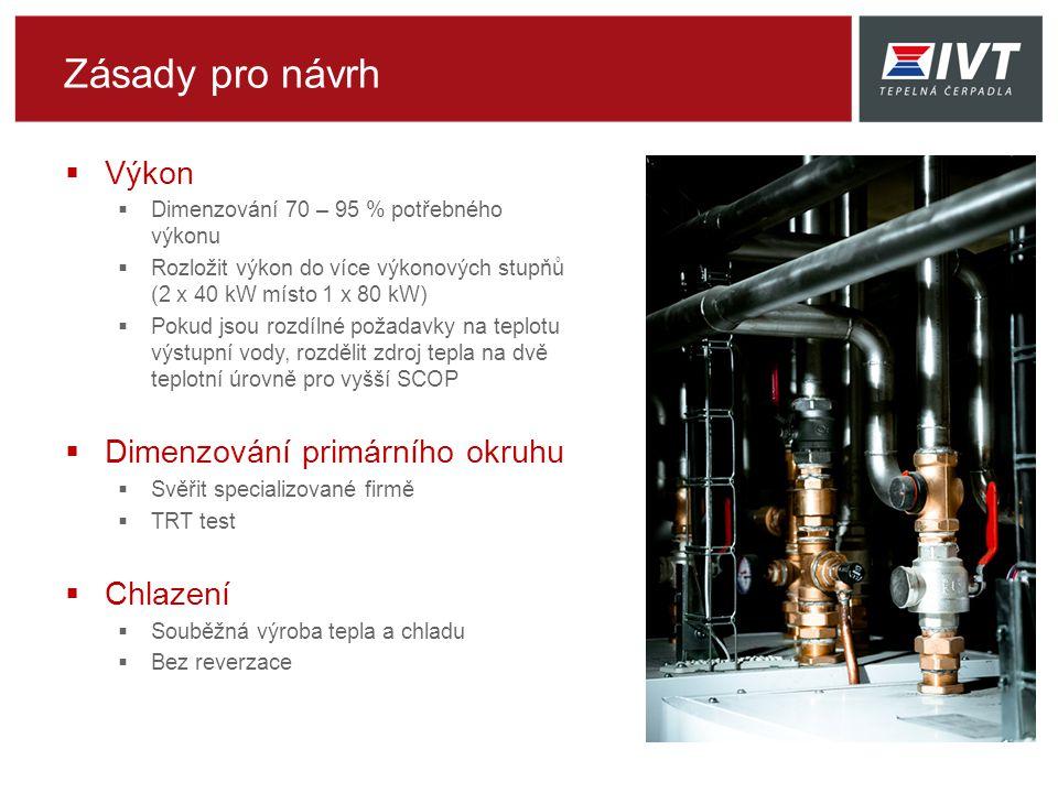 Zásady pro návrh  Výkon  Dimenzování 70 – 95 % potřebného výkonu  Rozložit výkon do více výkonových stupňů (2 x 40 kW místo 1 x 80 kW)  Pokud jsou rozdílné požadavky na teplotu výstupní vody, rozdělit zdroj tepla na dvě teplotní úrovně pro vyšší SCOP  Dimenzování primárního okruhu  Svěřit specializované firmě  TRT test  Chlazení  Souběžná výroba tepla a chladu  Bez reverzace