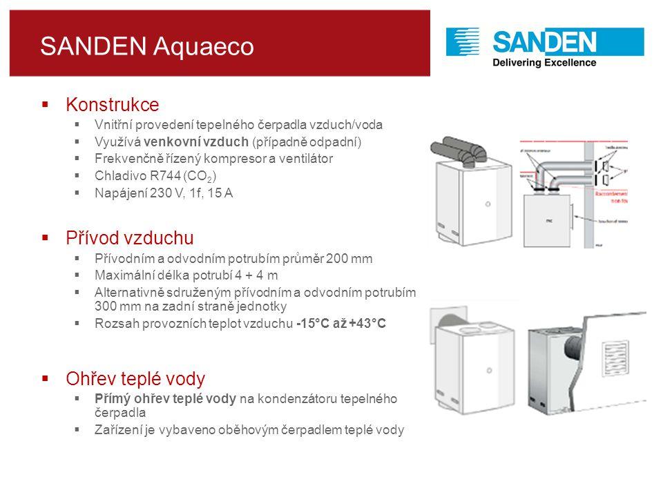 SANDEN Aquaeco  Konstrukce  Vnitřní provedení tepelného čerpadla vzduch/voda  Využívá venkovní vzduch (případně odpadní)  Frekvenčně řízený kompresor a ventilátor  Chladivo R744 (CO 2 )  Napájení 230 V, 1f, 15 A  Přívod vzduchu  Přívodním a odvodním potrubím průměr 200 mm  Maximální délka potrubí 4 + 4 m  Alternativně sdruženým přívodním a odvodním potrubím 300 mm na zadní straně jednotky  Rozsah provozních teplot vzduchu -15°C až +43°C  Ohřev teplé vody  Přímý ohřev teplé vody na kondenzátoru tepelného čerpadla  Zařízení je vybaveno oběhovým čerpadlem teplé vody