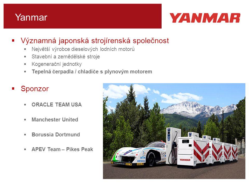 Yanmar  Významná japonská strojírenská společnost  Největší výrobce dieselových lodních motorů  Stavební a zemědělské stroje  Kogenerační jednotky  Tepelná čerpadla / chladiče s plynovým motorem  Sponzor  ORACLE TEAM USA  Manchester United  Borussia Dortmund  APEV Team – Pikes Peak