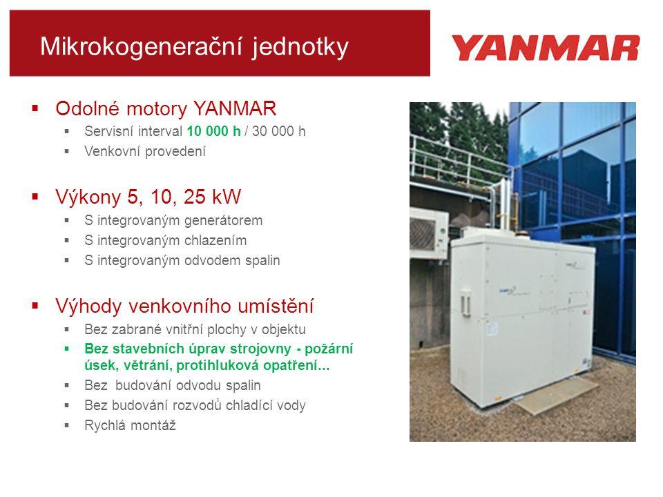 Mikrokogenerační jednotky  Odolné motory YANMAR  Servisní interval 10 000 h / 30 000 h  Venkovní provedení  Výkony 5, 10, 25 kW  S integrovaným generátorem  S integrovaným chlazením  S integrovaným odvodem spalin  Výhody venkovního umístění  Bez zabrané vnitřní plochy v objektu  Bez stavebních úprav strojovny - požární úsek, větrání, protihluková opatření...
