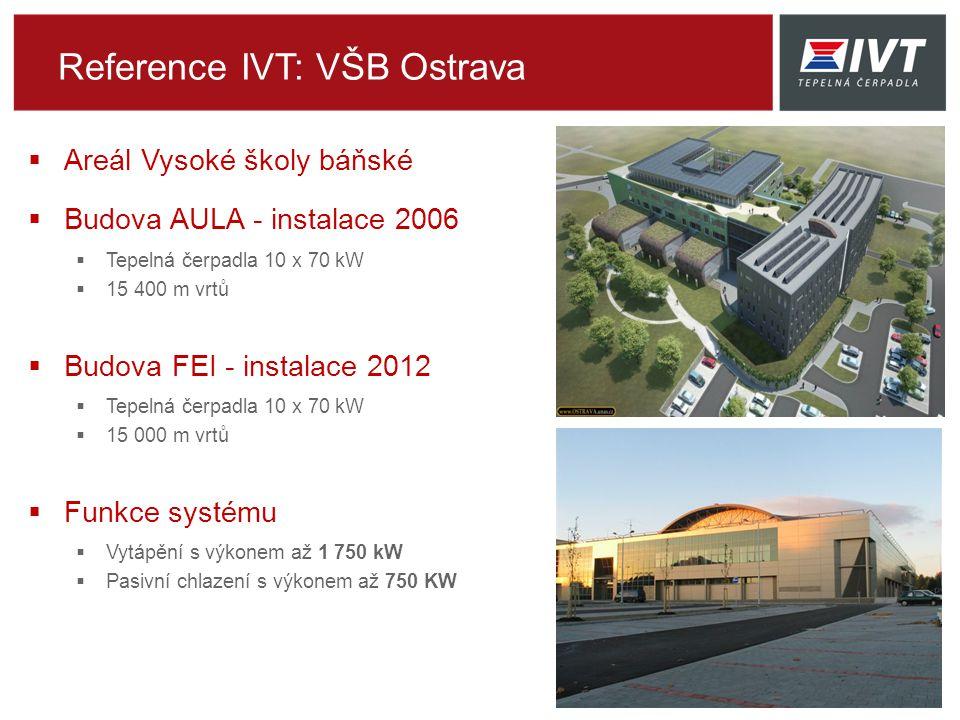  Areál Vysoké školy báňské  Budova AULA - instalace 2006  Tepelná čerpadla 10 x 70 kW  15 400 m vrtů  Budova FEI - instalace 2012  Tepelná čerpadla 10 x 70 kW  15 000 m vrtů  Funkce systému  Vytápění s výkonem až 1 750 kW  Pasivní chlazení s výkonem až 750 KW Reference IVT: VŠB Ostrava