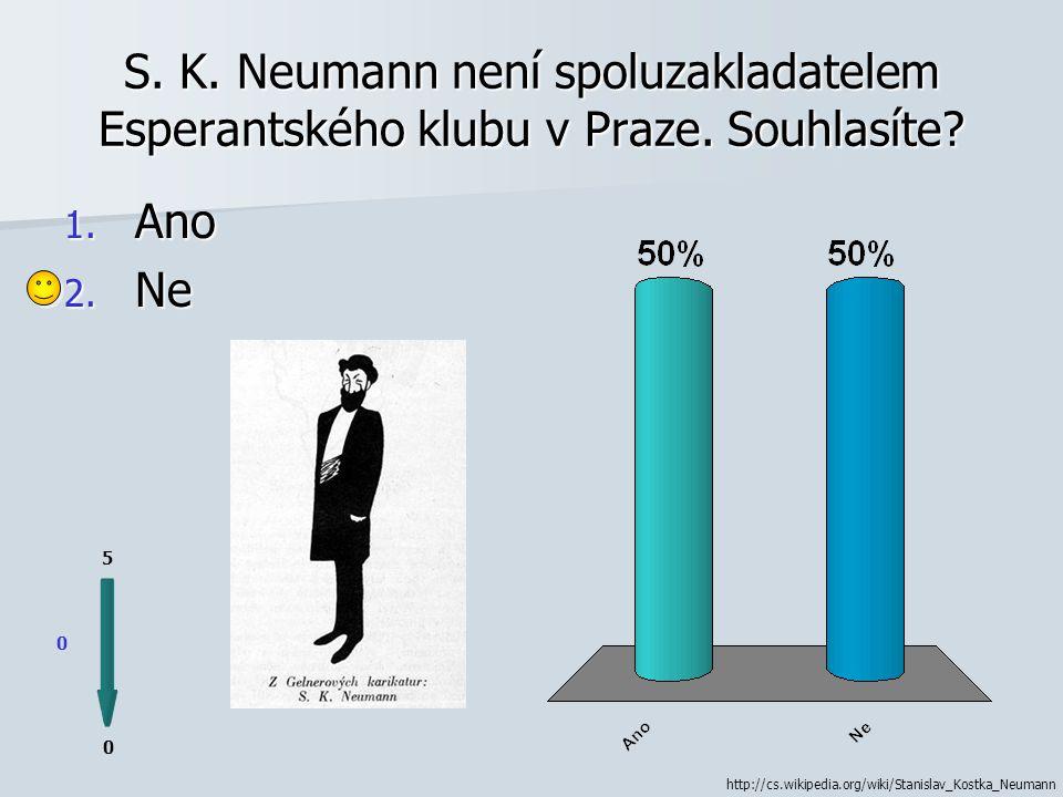 S. K. Neumann byl také odsouzen k žaláři v procesu s tzv. Omladinou. Souhlasíte 1. Ano 2. Ne 0 0 5