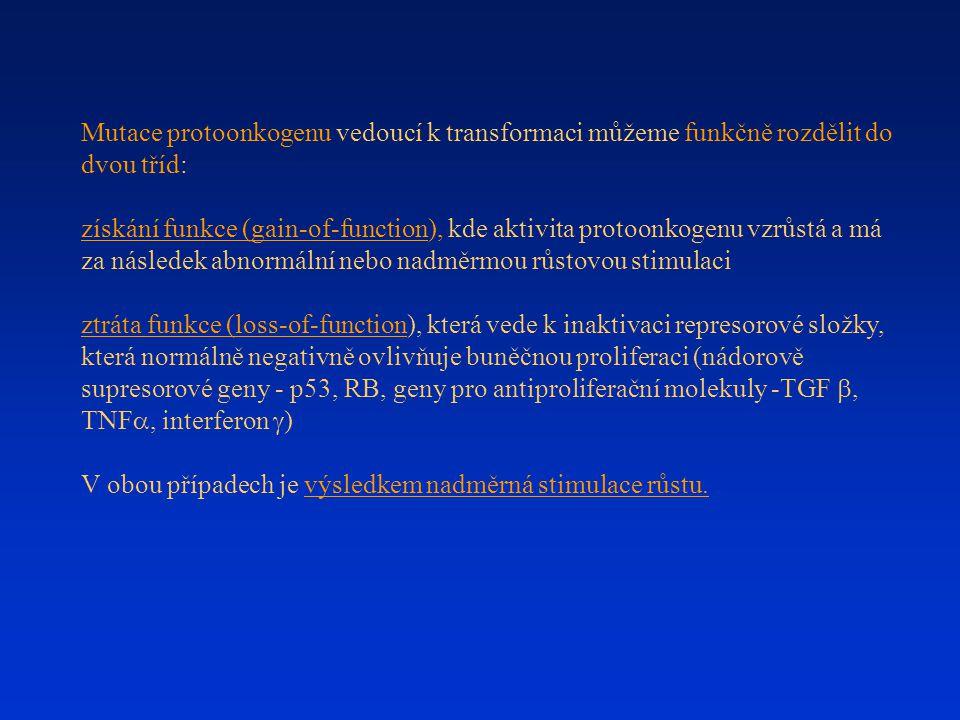 Mutace protoonkogenu vedoucí k transformaci můžeme funkčně rozdělit do dvou tříd: získání funkce (gain-of-function), kde aktivita protoonkogenu vzrůst