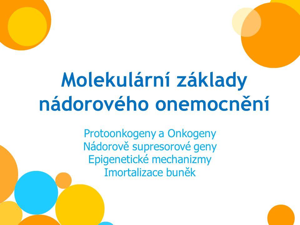Molekulární základy nádorového onemocnění Protoonkogeny a Onkogeny Nádorově supresorové geny Epigenetické mechanizmy Imortalizace buněk