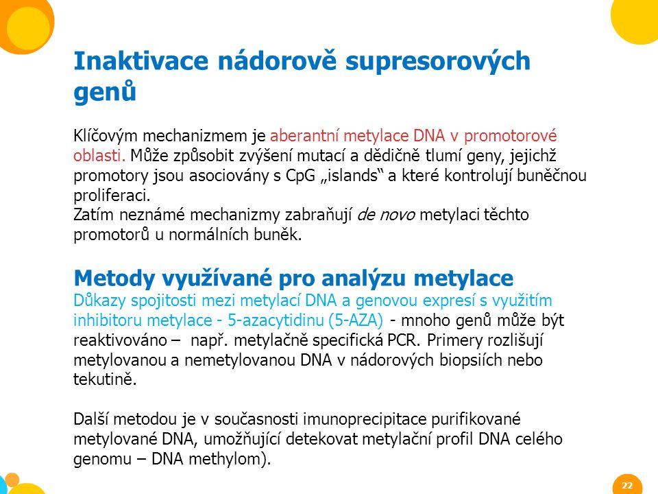 Inaktivace nádorově supresorových genů Klíčovým mechanizmem je aberantní metylace DNA v promotorové oblasti. Může způsobit zvýšení mutací a dědičně tl