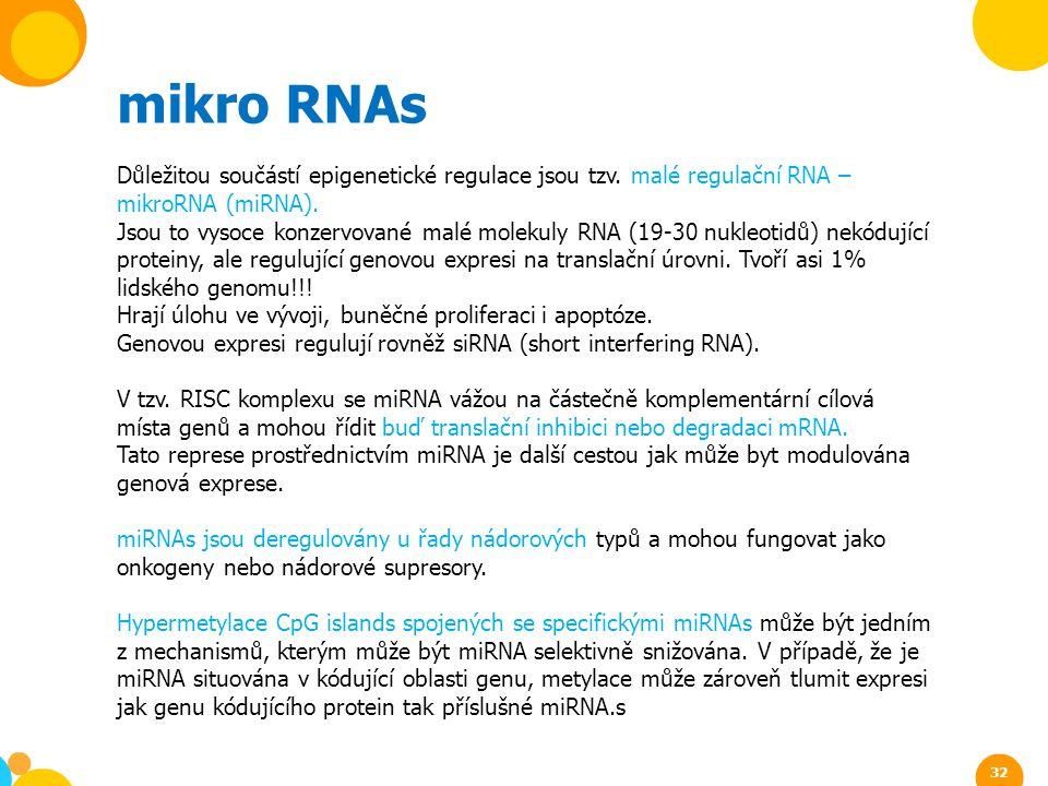 mikro RNAs Důležitou součástí epigenetické regulace jsou tzv. malé regulační RNA – mikroRNA (miRNA). Jsou to vysoce konzervované malé molekuly RNA (19