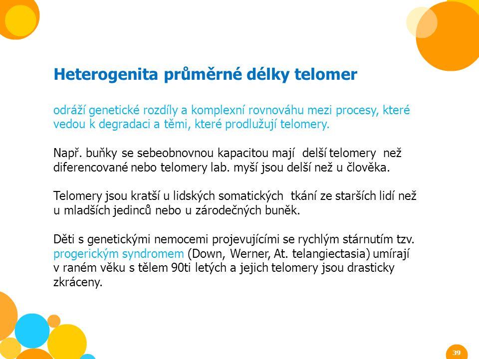 Heterogenita průměrné délky telomer odráží genetické rozdíly a komplexní rovnováhu mezi procesy, které vedou k degradaci a těmi, které prodlužují telo