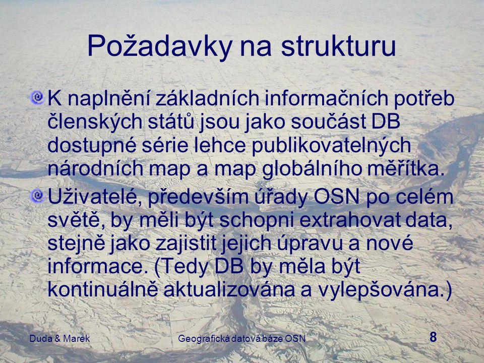 8 Duda & MarekGeografická datová báze OSN Požadavky na strukturu K naplnění základních informačních potřeb členských států jsou jako součást DB dostupné série lehce publikovatelných národních map a map globálního měřítka.