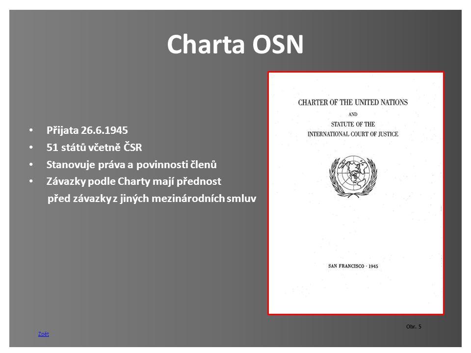 Charta OSN Přijata 26.6.1945 51 států včetně ČSR Stanovuje práva a povinnosti členů Závazky podle Charty mají přednost před závazky z jiných mezinárod