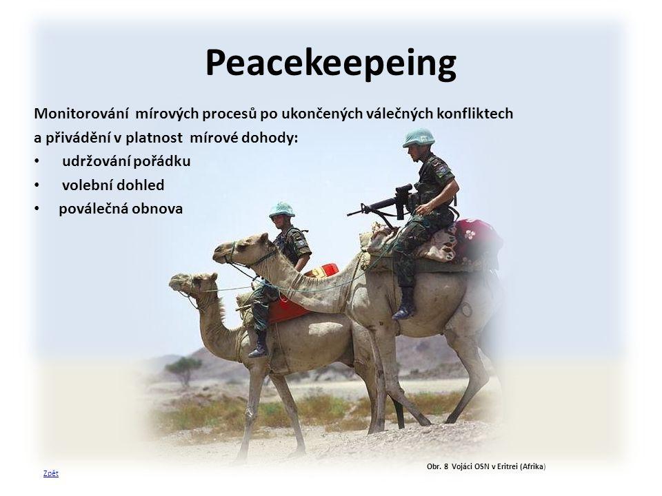 Obr. 8 Vojáci OSN v Eritrei (Afrika) Peacekeepeing Monitorování mírových procesů po ukončených válečných konfliktech a přivádění v platnost mírové doh