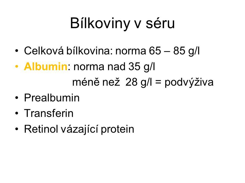 Bílkoviny v séru Celková bílkovina: norma 65 – 85 g/l Albumin: norma nad 35 g/l méně než 28 g/l = podvýživa Prealbumin Transferin Retinol vázající pro