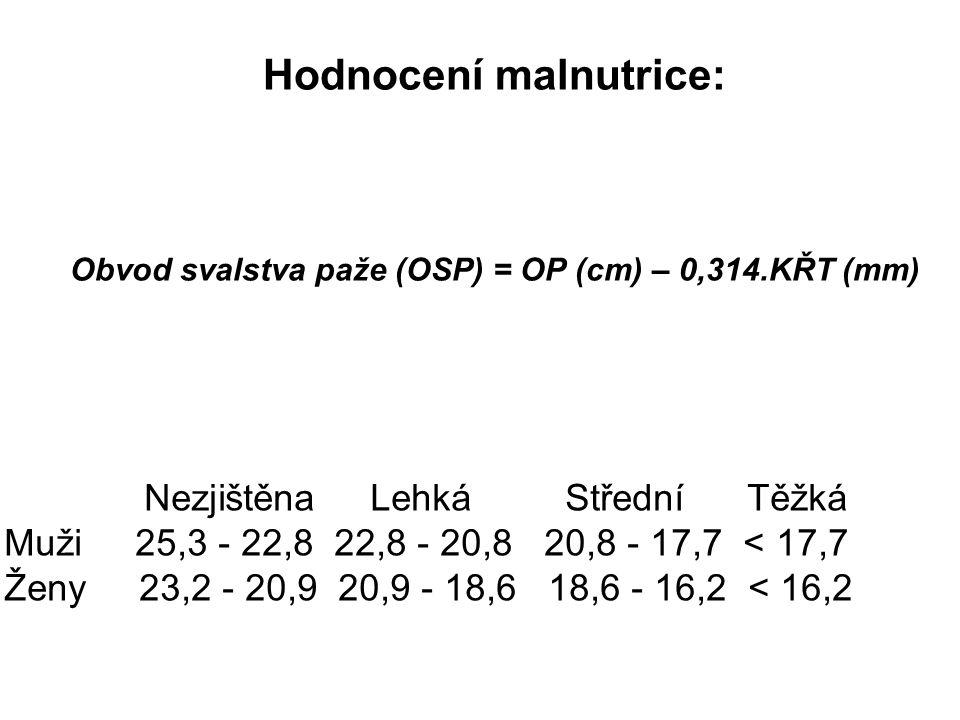Hodnocení malnutrice: Obvod svalstva paže (OSP) = OP (cm) – 0,314.KŘT (mm) Nezjištěna Lehká Střední Těžká Muži 25,3 - 22,8 22,8 - 20,8 20,8 - 17,7 < 1