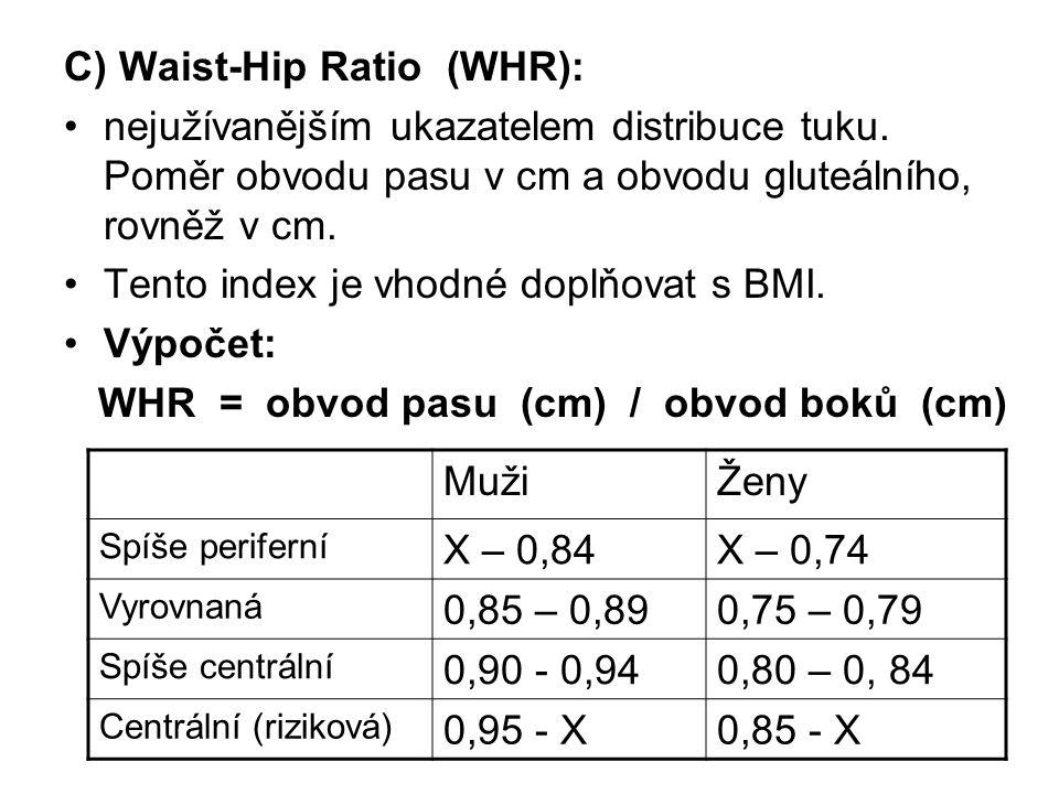 C) Waist-Hip Ratio (WHR): nejužívanějším ukazatelem distribuce tuku.