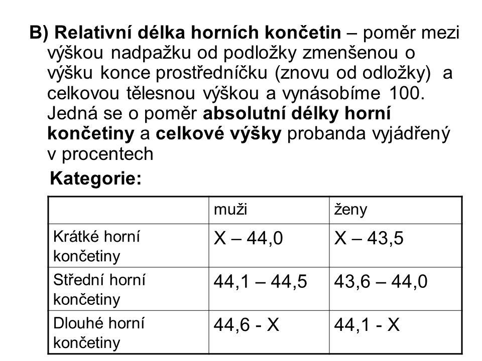 B) Relativní délka horních končetin – poměr mezi výškou nadpažku od podložky zmenšenou o výšku konce prostředníčku (znovu od odložky) a celkovou tělesnou výškou a vynásobíme 100.