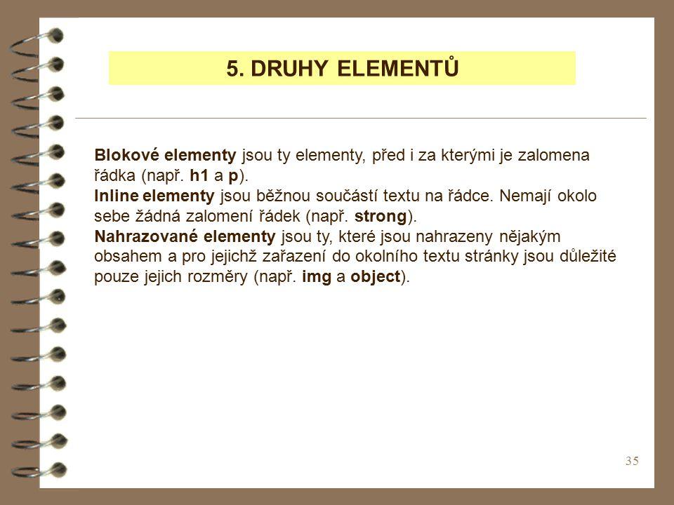 35 5.DRUHY ELEMENTŮ Blokové elementy jsou ty elementy, před i za kterými je zalomena řádka (např.