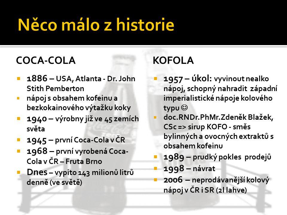KOFOLA  1957 – úkol: vyvinout nealko nápoj, schopný nahradit západní imperialistické nápoje kolového typu  doc.RNDr.PhMr.Zdeněk Blažek, CSc => sirup