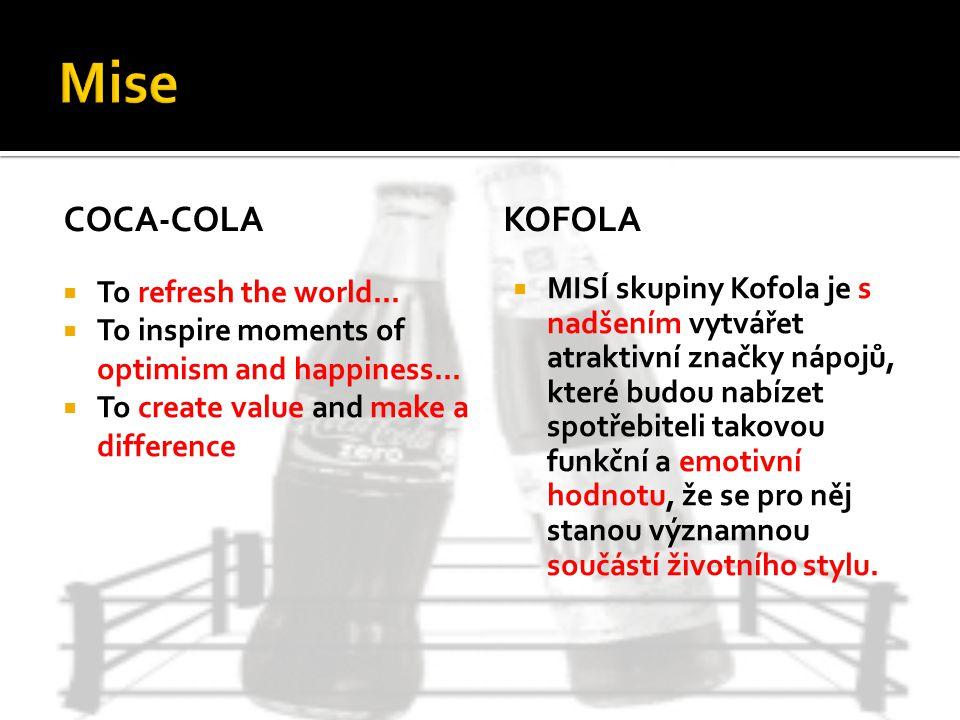 COCA-COLA  MISÍ skupiny Kofola je s nadšením vytvářet atraktivní značky nápojů, které budou nabízet spotřebiteli takovou funkční a emotivní hodnotu,