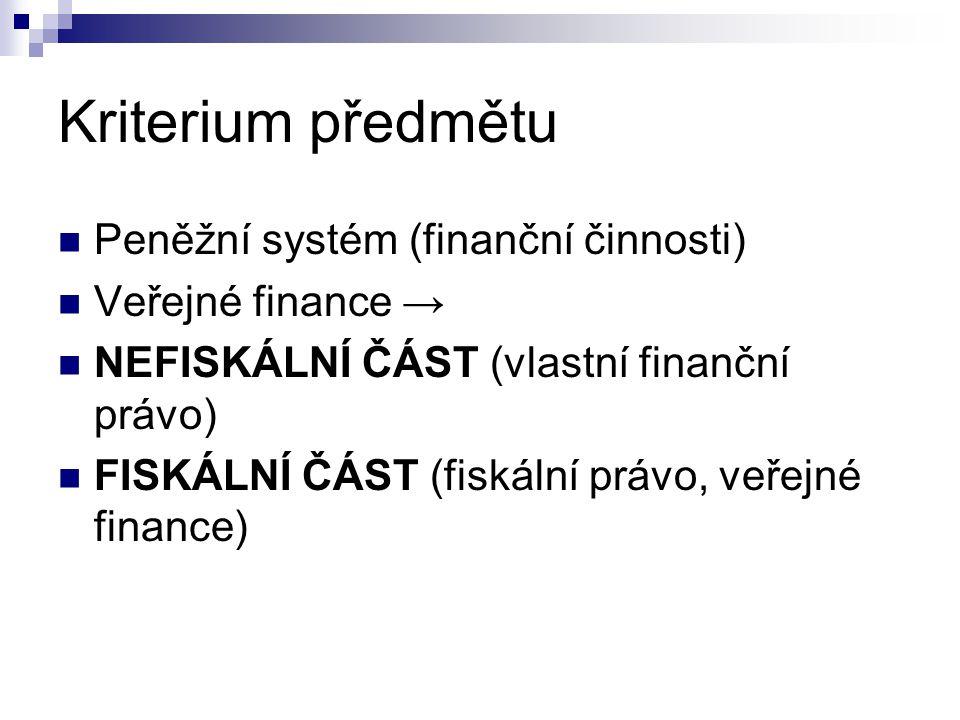 Kriterium předmětu Peněžní systém (finanční činnosti) Veřejné finance → NEFISKÁLNÍ ČÁST (vlastní finanční právo) FISKÁLNÍ ČÁST (fiskální právo, veřejn