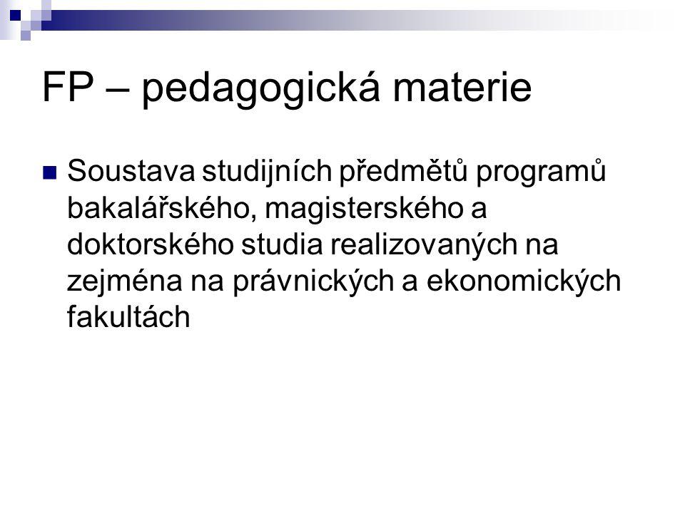 FP – pedagogická materie Soustava studijních předmětů programů bakalářského, magisterského a doktorského studia realizovaných na zejména na právnickýc