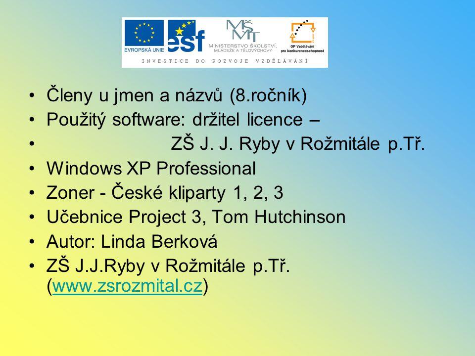 Členy u jmen a názvů (8.ročník) Použitý software: držitel licence – ZŠ J. J. Ryby v Rožmitále p.Tř. Windows XP Professional Zoner - České kliparty 1,