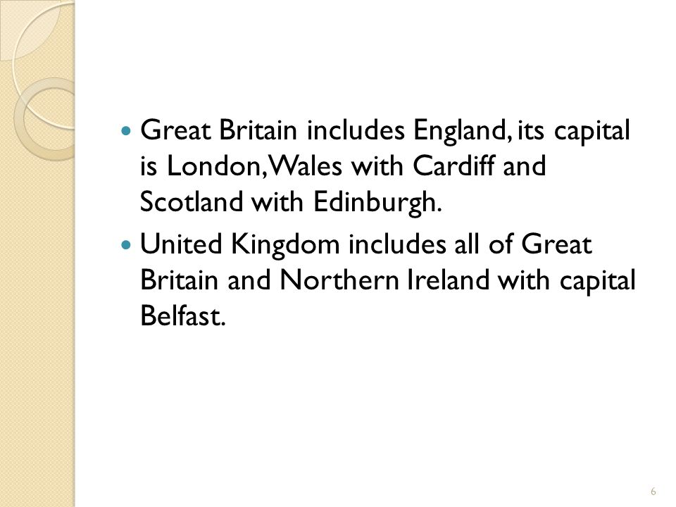 Great Britain includes England, its capital is London, Wales with Cardiff and Scotland with Edinburgh.