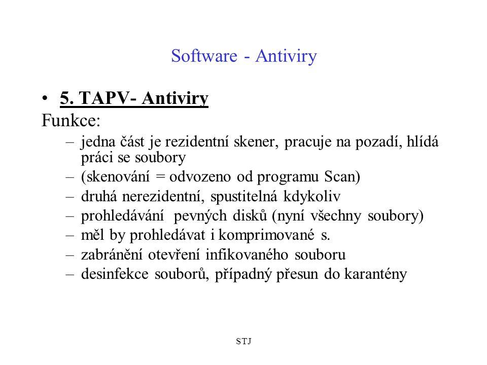 STJ Software - Antiviry 5. TAPV- Antiviry Funkce: –jedna část je rezidentní skener, pracuje na pozadí, hlídá práci se soubory –(skenování = odvozeno o