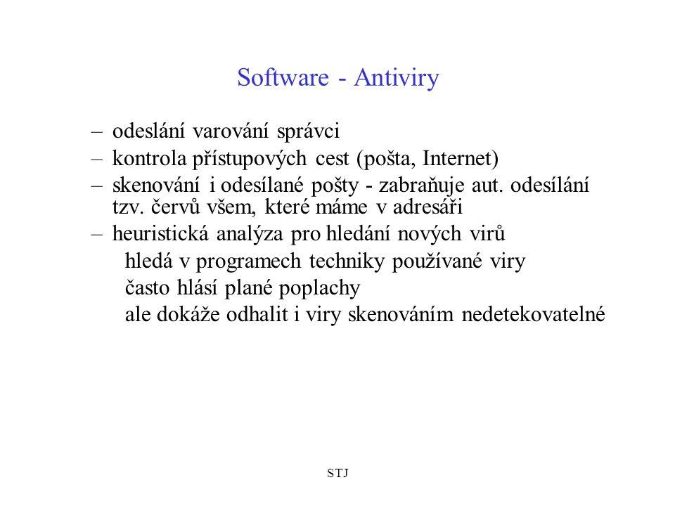 STJ Software - Antiviry –odeslání varování správci –kontrola přístupových cest (pošta, Internet) –skenování i odesílané pošty - zabraňuje aut. odesílá