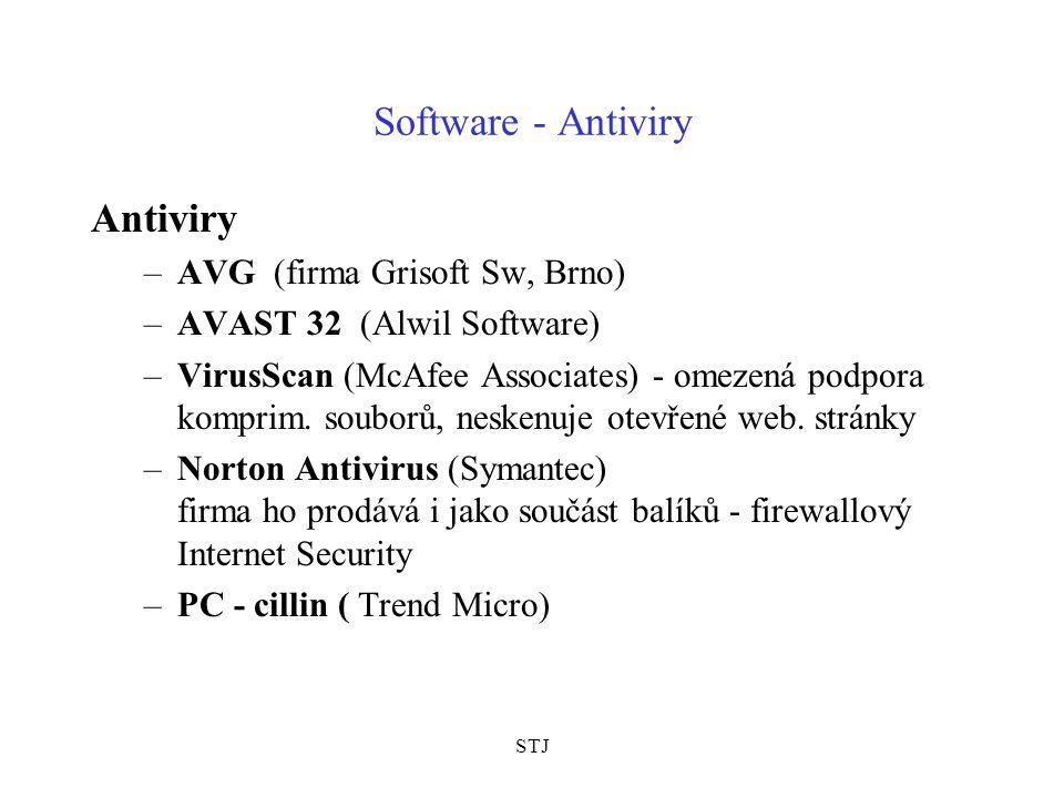 STJ Software - Antiviry Antiviry –AVG (firma Grisoft Sw, Brno) –AVAST 32 (Alwil Software) –VirusScan (McAfee Associates) - omezená podpora komprim. so