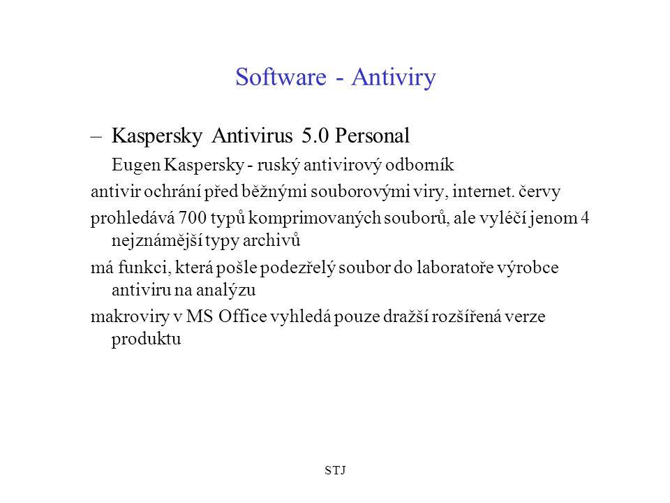 STJ Software - Antiviry –Kaspersky Antivirus 5.0 Personal Eugen Kaspersky - ruský antivirový odborník antivir ochrání před běžnými souborovými viry, internet.