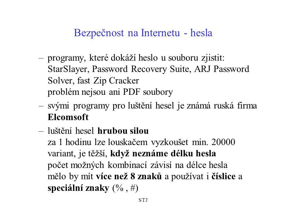 STJ Bezpečnost na Internetu - hesla –programy, které dokáží heslo u souboru zjistit: StarSlayer, Password Recovery Suite, ARJ Password Solver, fast Zip Cracker problém nejsou ani PDF soubory –svými programy pro luštění hesel je známá ruská firma Elcomsoft –luštění hesel hrubou silou za 1 hodinu lze louskačem vyzkoušet min.