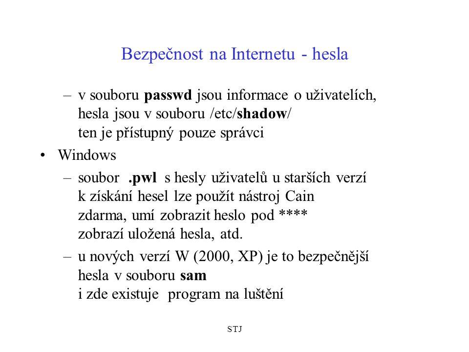 STJ Bezpečnost na Internetu - hesla –v souboru passwd jsou informace o uživatelích, hesla jsou v souboru /etc/shadow/ ten je přístupný pouze správci W