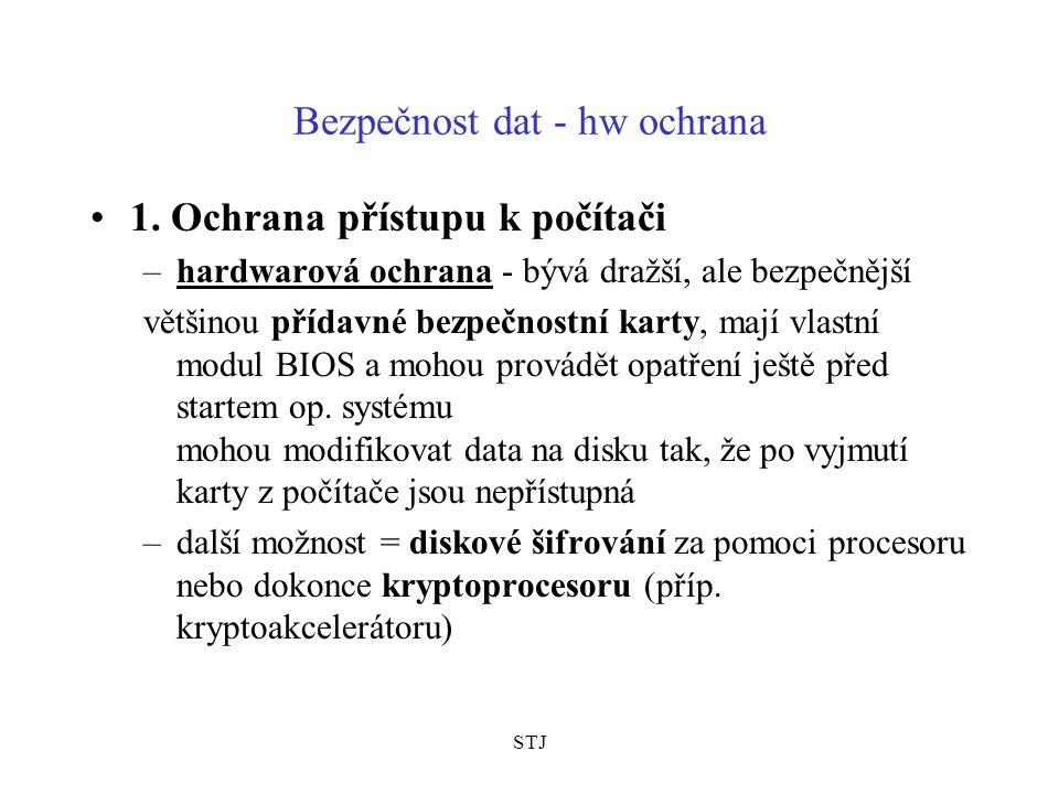 STJ Bezpečnost dat - hw ochrana 1.