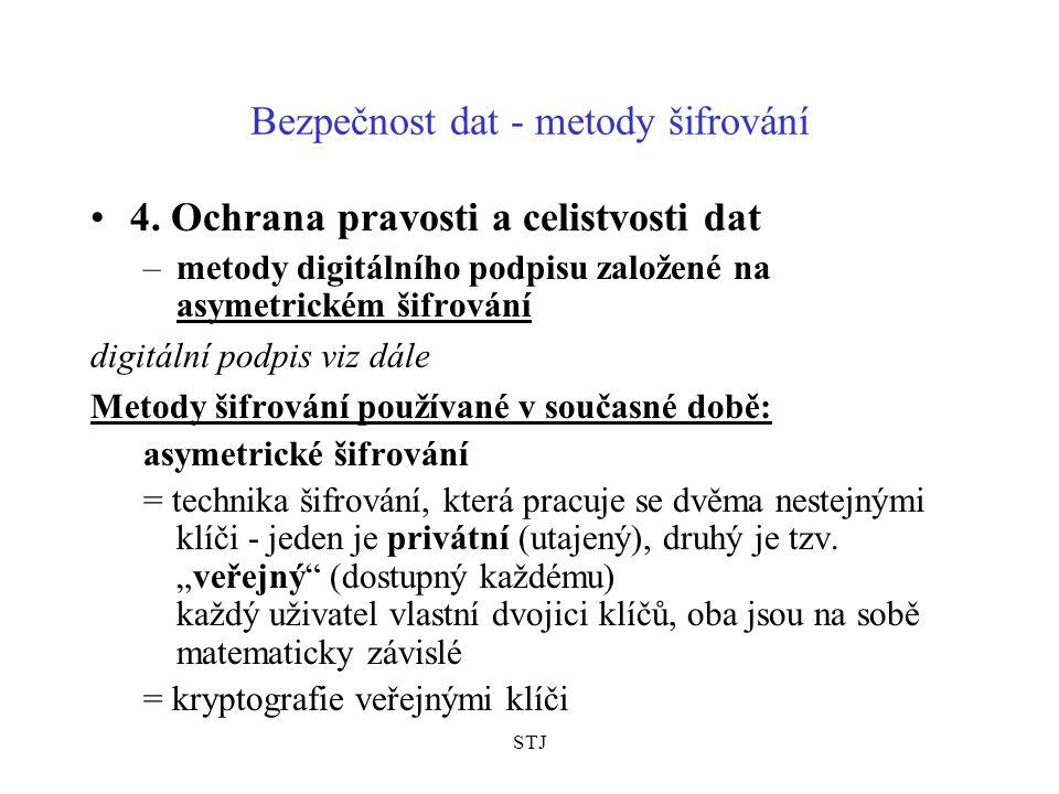 STJ Bezpečnost dat - metody šifrování 4. Ochrana pravosti a celistvosti dat –metody digitálního podpisu založené na asymetrickém šifrování digitální p